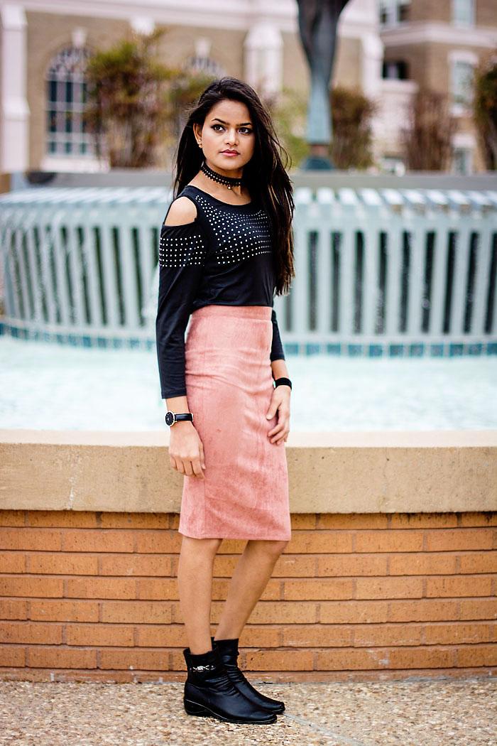 Dusty pink & black