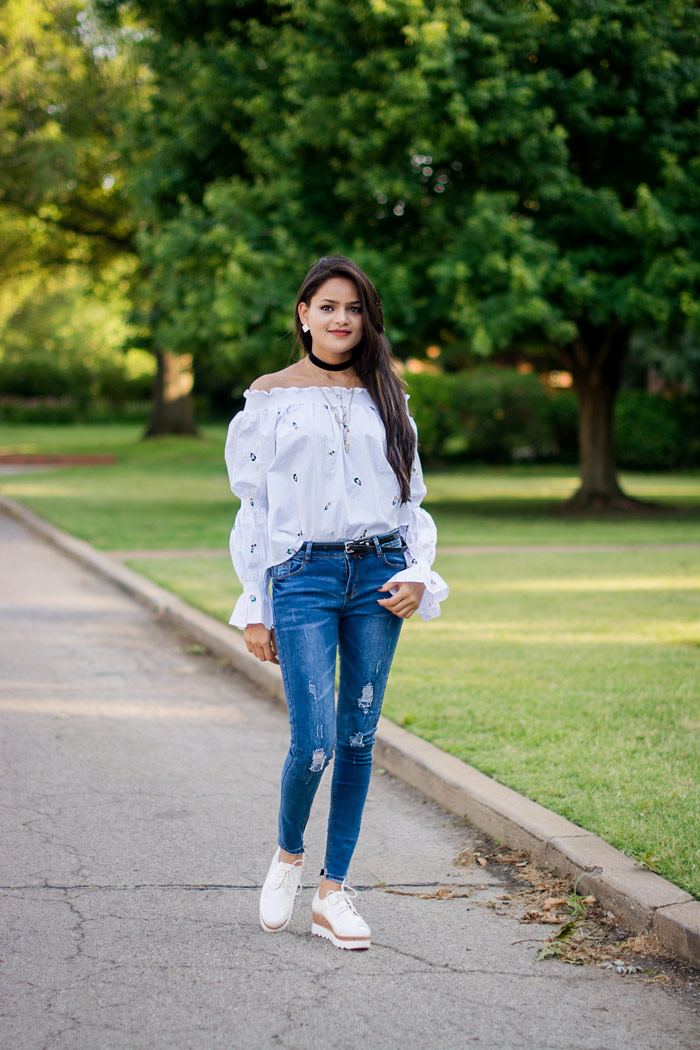 Ribbed Jeans with Off Shoulder