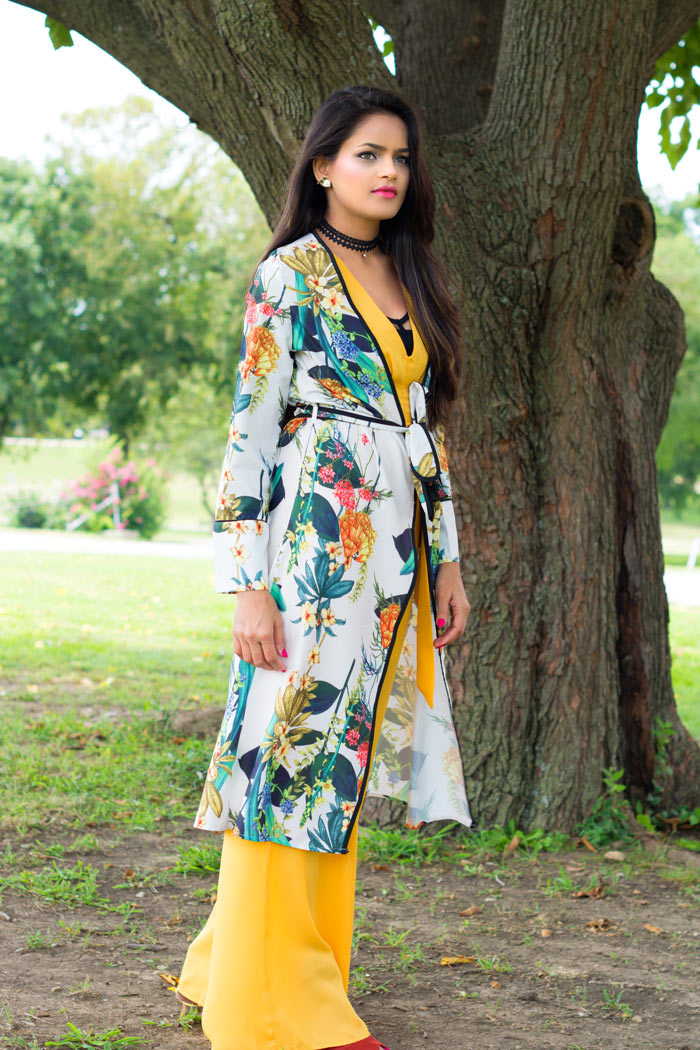 Longline Kimono with Palazzo Jumpsuit
